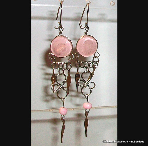 """2.5"""" Long Dangle Silver Earrings Pink Murano Glass Drop Sexy handcrafted Jewelry"""