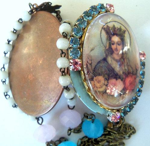 Blue Enamel Rhinestone Cameo Locket Bead Necklace Virgin Mary Prayer Jewelry