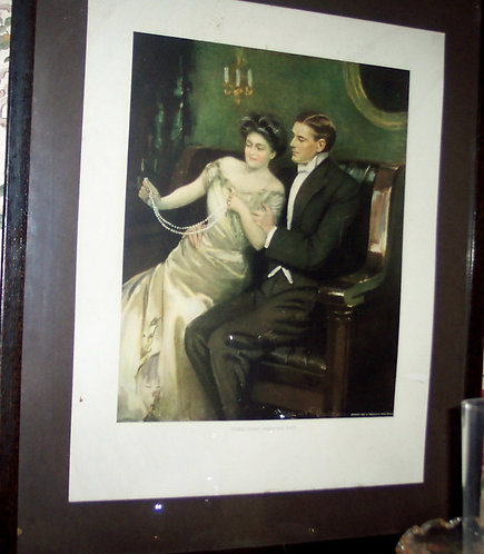 Large 1908 Antique Clarence Underwood Print Their First Wedding Gift : Romance