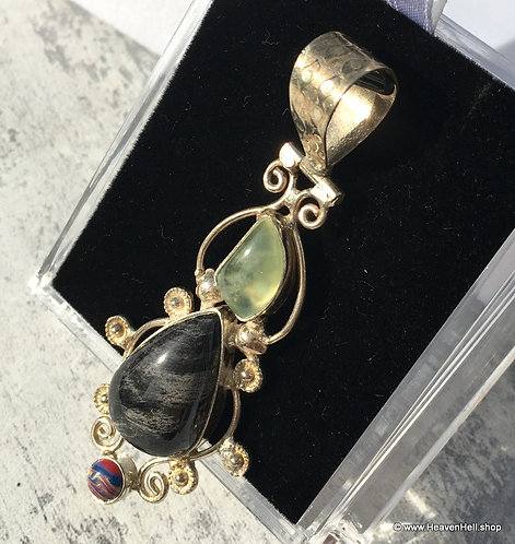 Black & White Jasper, Prehnite Sterling Gemstone Pendant Silver Jewelry