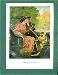 1906 Antique Car Print Auto Driving Art Clarence Underwood Romance Artwork