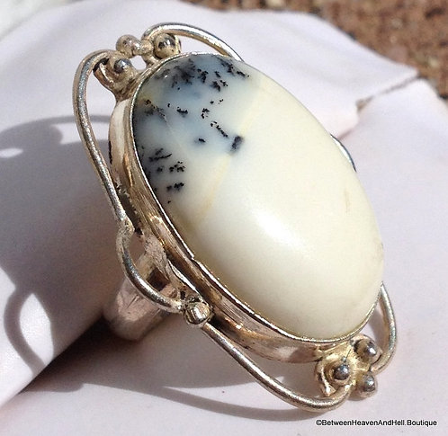 Big Winter White Dendritic Opal Merlinite Gemstone Ring Sterling Silver size 5