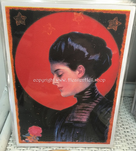 Full Moon Maidens Collection - 5x7 Giclee Print - Witchy Woman, Red rose