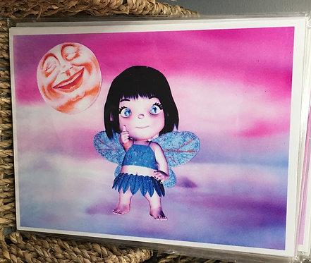 5x7 Children's Art Print Misty Beach Fairy w/ black hair - Girls Wall Decor
