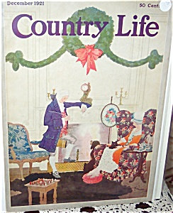 Vintage 1921 Country Life Magazine Cover Colonial Christmas Print