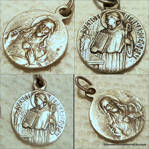 Rare Vintage Sterling Silver French Medal Saint Bernard Sacred Heart, Lassere