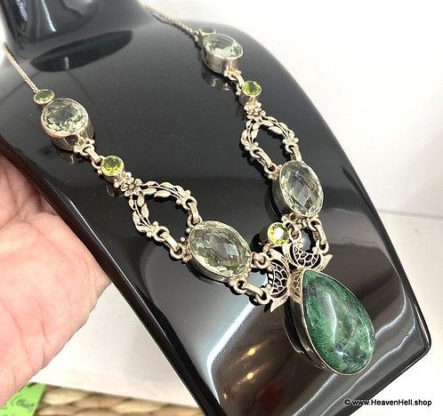Sterling Silver Chrysocolla Green Amethyst Gemstone Necklace - Prasiolite