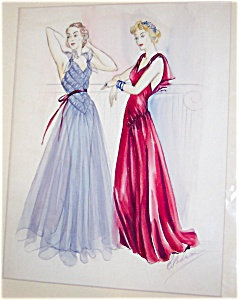 Vintage Watercolor Painting Ladies Fashion Gowns Dresses