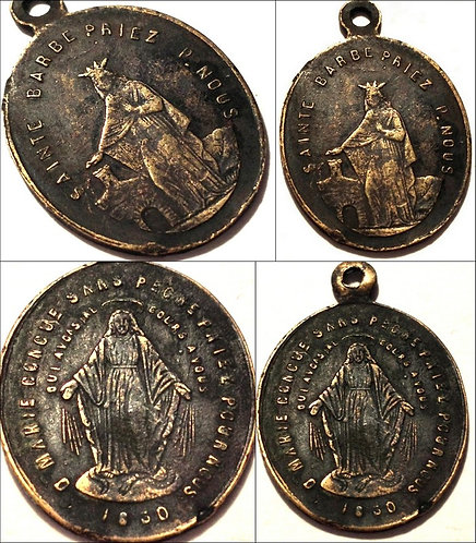 Rare Antique French Holy Medal Saint Barbara Miraculous Mary Medal