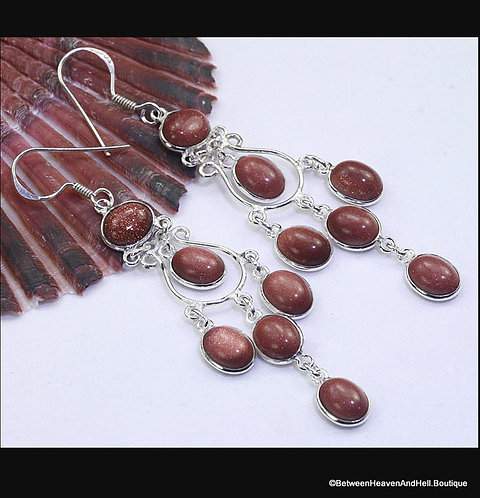 "3"" Long Sparkling Goldstone Dangle Earrings, Sterling Silver Earrings"