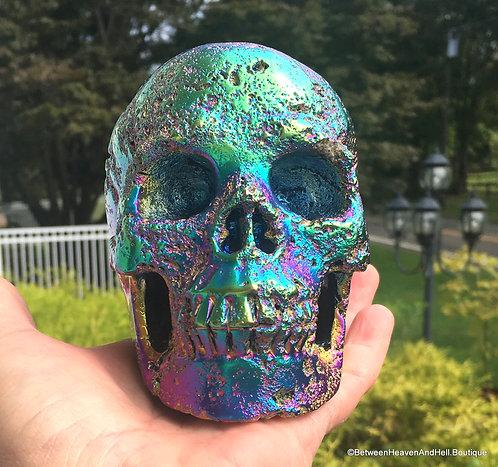 "5"" Activated Rainbow Titanium Aura Crystal Skull, Lava Stone Gemstone Skull"