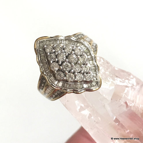 Vintage 10k Gold Art Deco Diamond ring Size 7 - Round and Channel Set baguettes