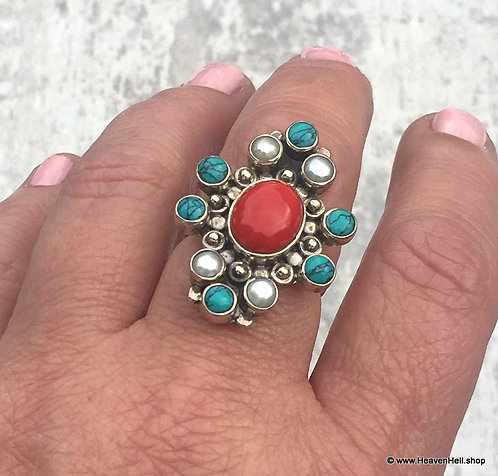 Vintage Turquoise & Red Coral Ring Sterling Silver Gemstone Jewelry 8