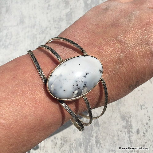 Large Winter White Dendritic Agate Opal Silver Cuff Bracelet plus Size Jewelry