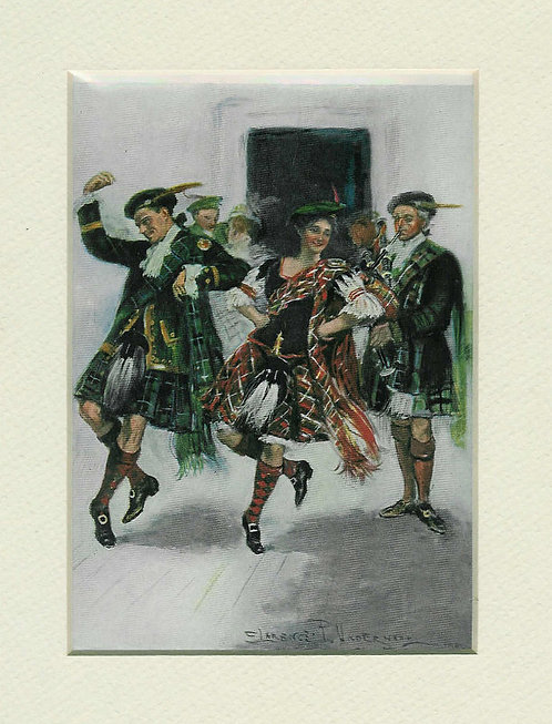 Early 1900's Vintage Clarence Underwood Print Scottish Dance: Kilts