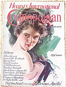 Lady In Pink Headband Harrison Fisher Magazine Art Cosmo Cover