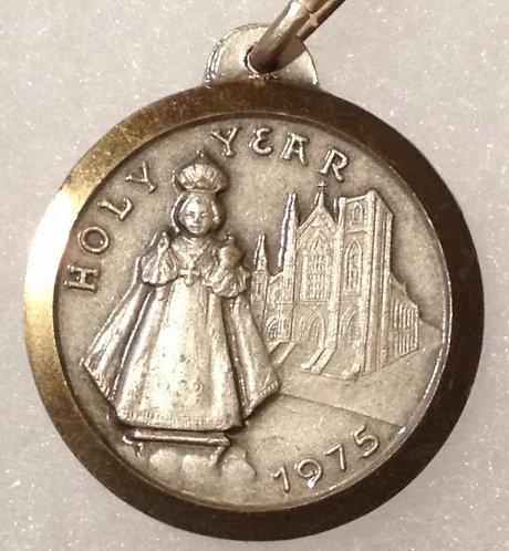 Vintage 1970's Holy Medal Infant Jesus Of Prague Paulus Vl, Religious Jewelry