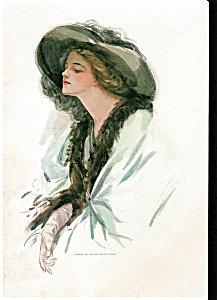 Harrison Fisher Print: My Lady Waits: Beauty In Big Hat