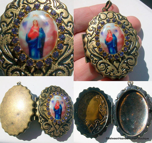 Mother Mary Queen Of Angels Huge Locket Porcelain Cameo Pendant