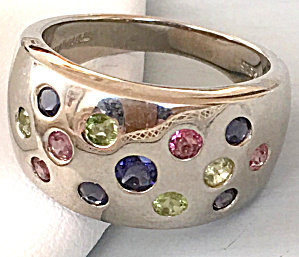 Vintage Ring 925 Sterling Iolite Peridot Pink Topaz Gemstone Band