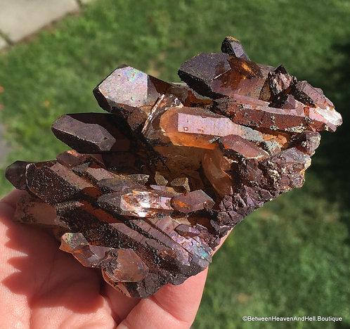 Natural Aura Quartz Cluster Organic Raw Crystal Cluster, Titanium Aura