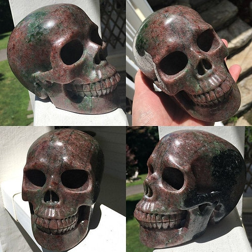 "5.2"" Large Activated Green and Red Garnet Crystal Skull - Power, Prosperity"