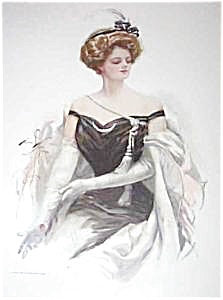Harrison Fisher Print After The Dance Victorian Beauty