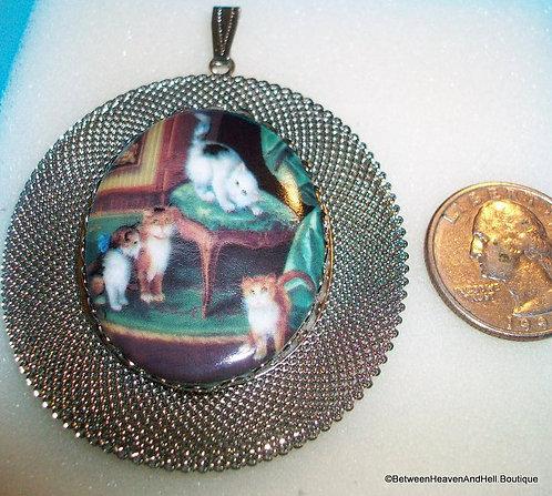 Large Porcelain Cameo Jewelry Kittens Cat Pendant Silver Mesh