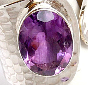 Big Amethyst Oval Stone Wide Band Ring Sterling Silver 8 - 9