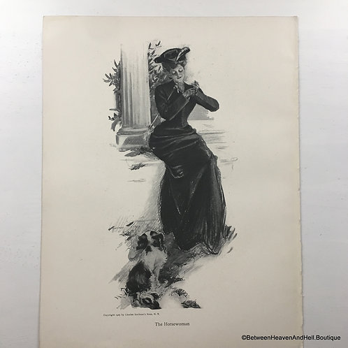 1905 Edwardian Vintage Equestrian Print The Horsewoman and her Dog