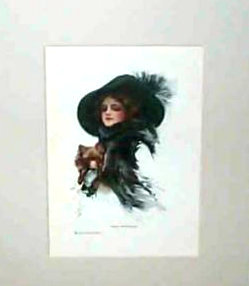 Vintage Harrison Fisher Print Well Protected, Victorian Lady & Dog Art