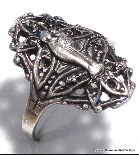 Vintage Religious Filigree Ring Sterling Silver Madonna Child Jesus