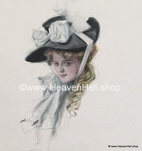 1906 Vintage Harrison Fisher Art Print Victorian Lady Big Hat, Bewitching Eyes