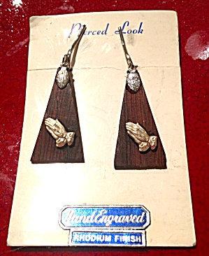 Vintage Dangle Clip On Religious Earrings Praying Hands