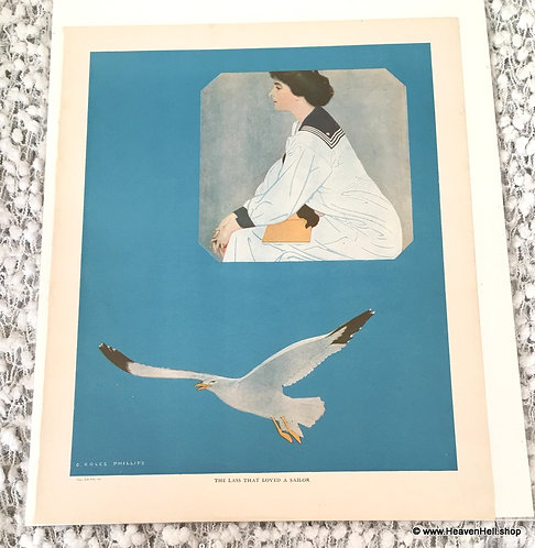 Vintage 1910's Coles Phillips Prints: Sailor Lady & Eagle Fade Away Girl Print