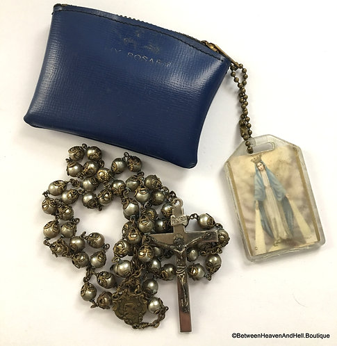Antique Art Nouveau Rosary Beads W/ Case Virgin Mary Jesus Christ