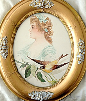 Antique Lithograph Print Woman Bird Ornate Oval Wood Frame