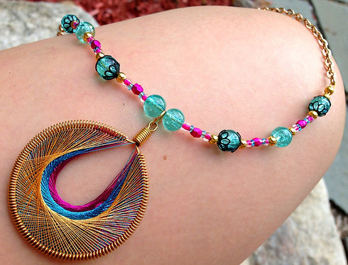 Upcycled Recycled Wire Wrapped Vintage Peacock Feather Necklace