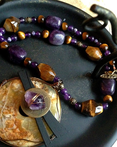 Chinese Lucky Coin Dragonfly Wire Wrapped Agate Tiger Eye Charoite Necklace
