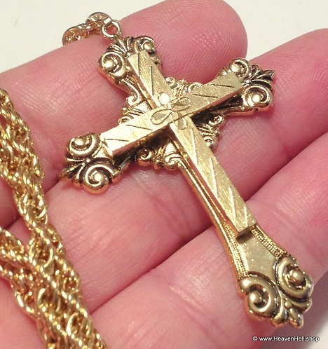 Vintage Gold Plated Rope Chain Ornate Cross Necklace