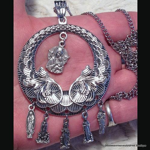Large Religious Catholic Filigree Charm Necklace Virgin Mary Our Lady, Handmade
