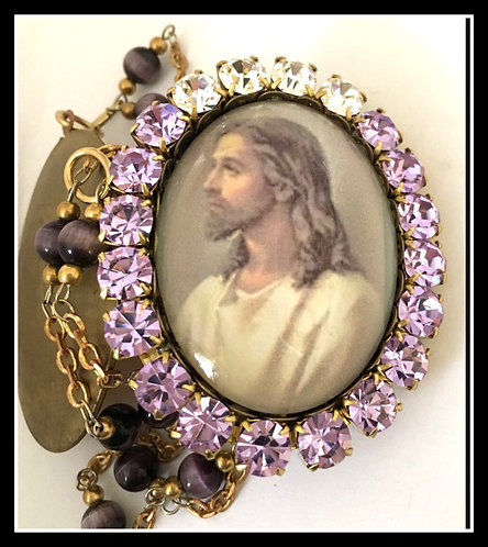 Handcrafted Vintage Cameo Locket Jesus Christ Prayer Box Purple Cats Eye Beads