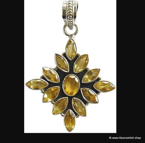 "1.25"" Sterling Citrine Gemstone Pendant Starburst Design, Silver Jewelry"