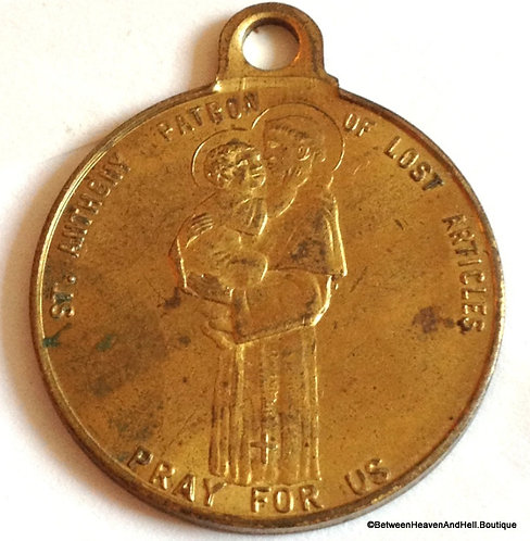 Vintage Religious Jewelry Saint Anthony Holy Medal Large Catholic Pendant
