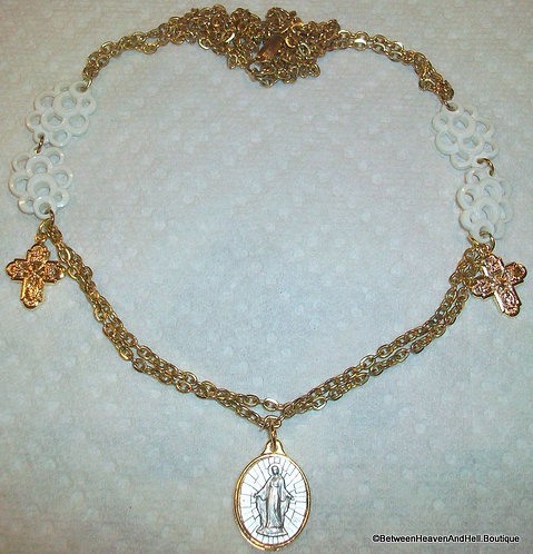 Vintage Our Lady Of Grace Necklace Cross Charm Medal Virgin Mary