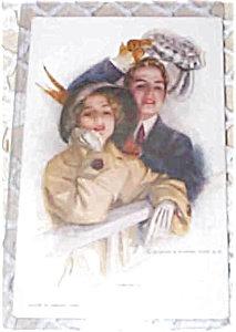 Artist Signed Postcard Harrison Fisher Farewell Honeymoon