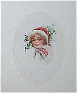 Antique Vintage Prints: Harrison Fisher: Miss Santa Claus