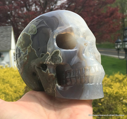 2.8Lb Master Activated Crystal Skull Smoky Blue Agate Quartz Heaven Earth Energy