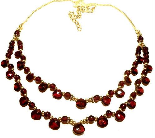 Red Garnet Briolette Drop Necklace Sterling Silver, Multi Strand Jewelry