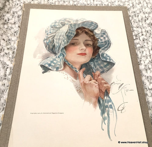 1911 Vintage Harrison Fisher Print Dolly: Victorian Country Girl Blue Bonnet
